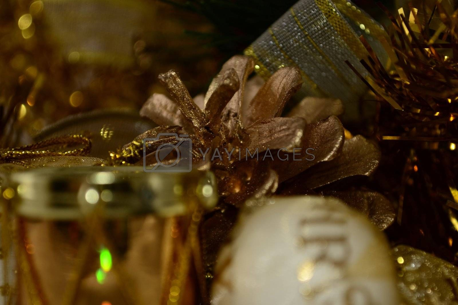 Gold cone and drum on gold tinsel