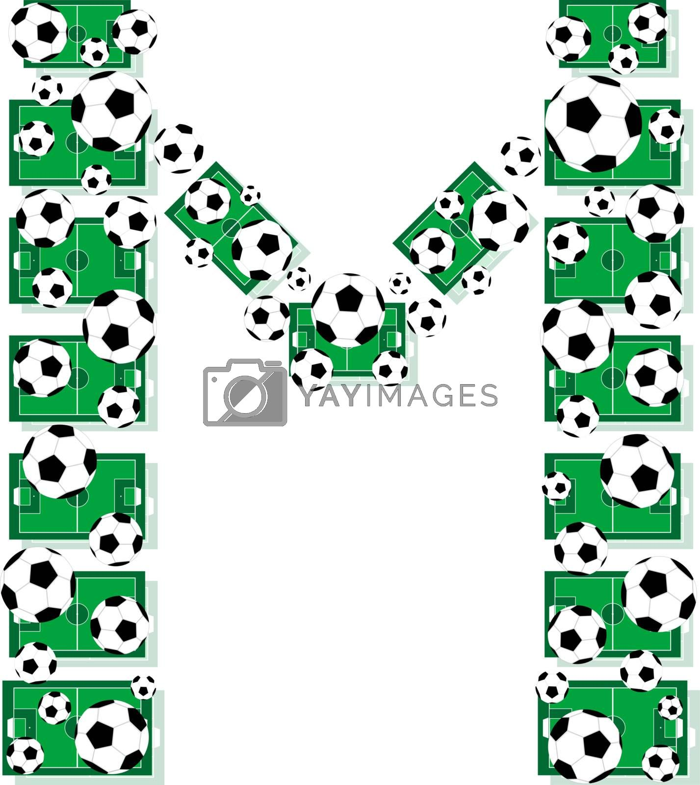 M, Alphabet Football letters made of soccer balls and fields. Vector