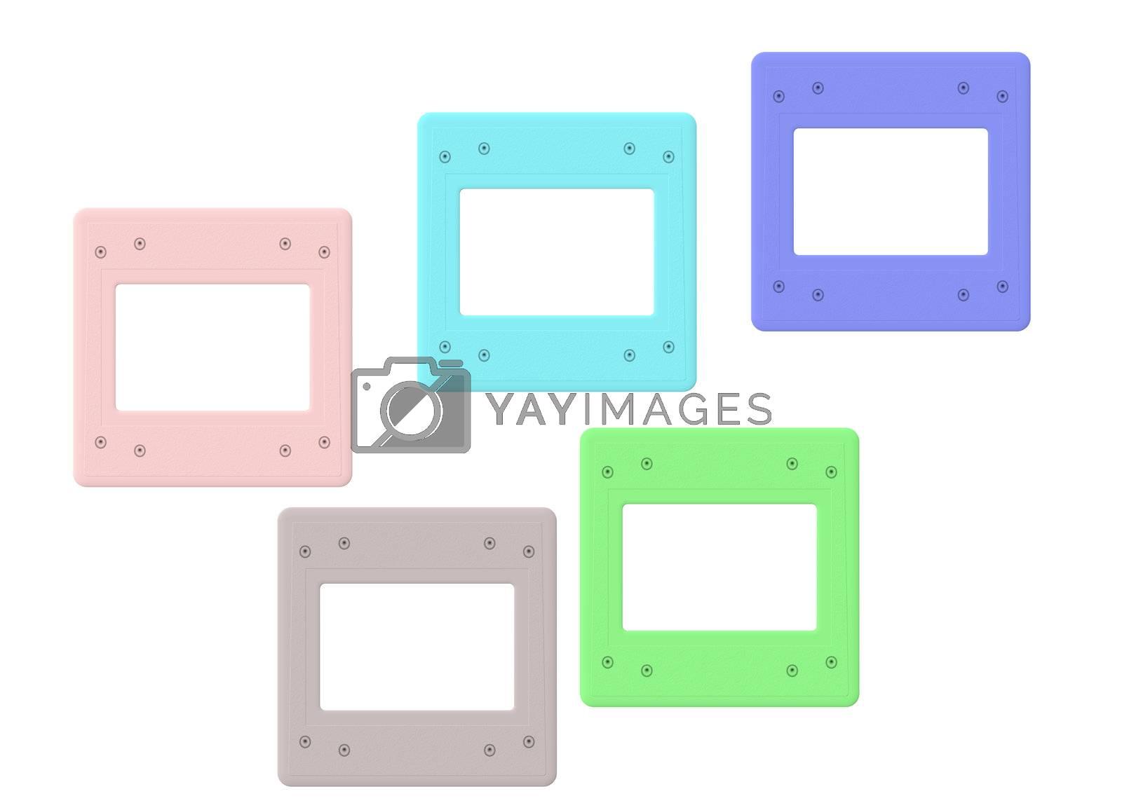 Old colored slide frame