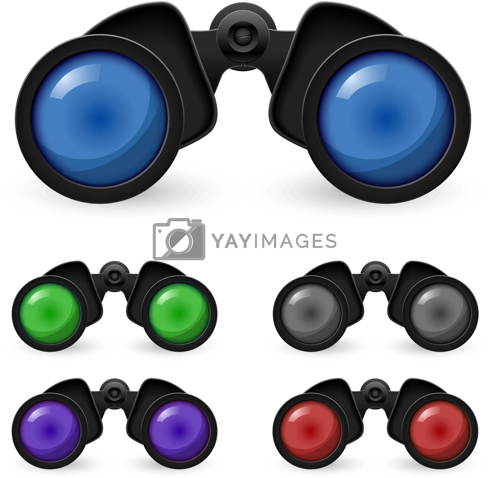 Set of realistic binoculars. Illustration on white background