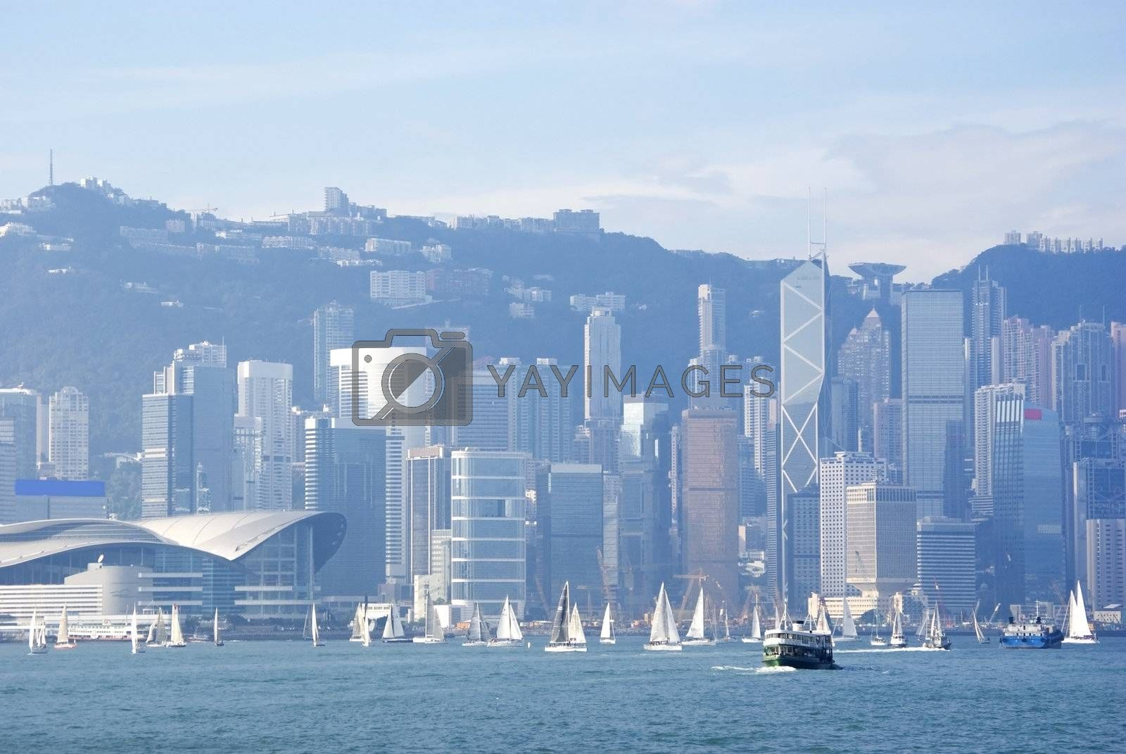 Hong Kong harbour with sailinng boat