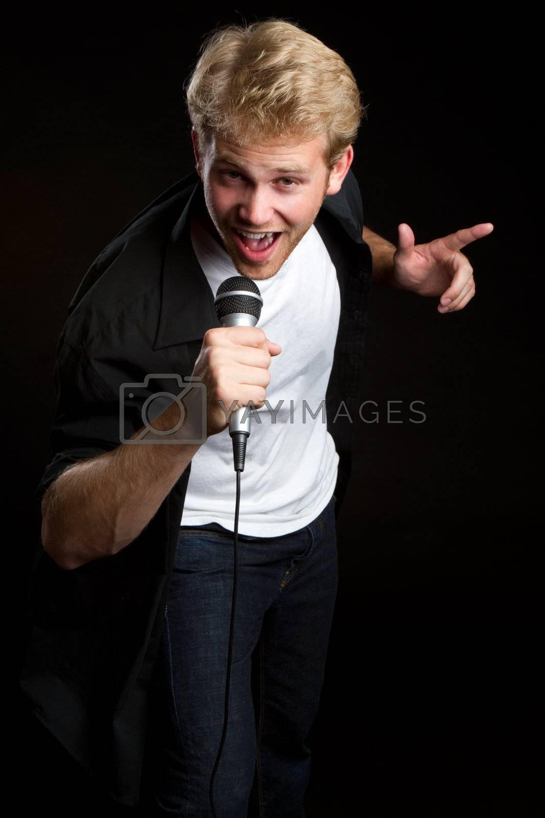 Male singer singing karaoke music