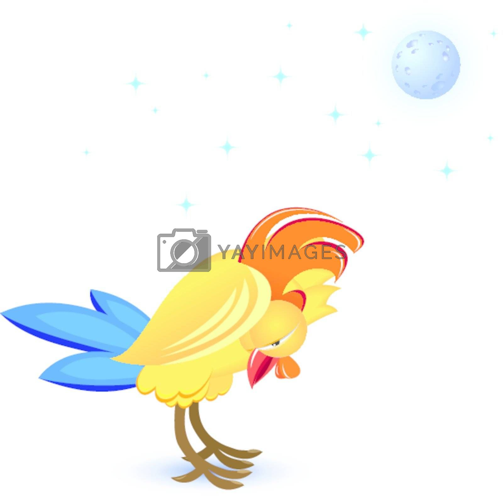 Cartoon sleeping cock. Illustration on white background
