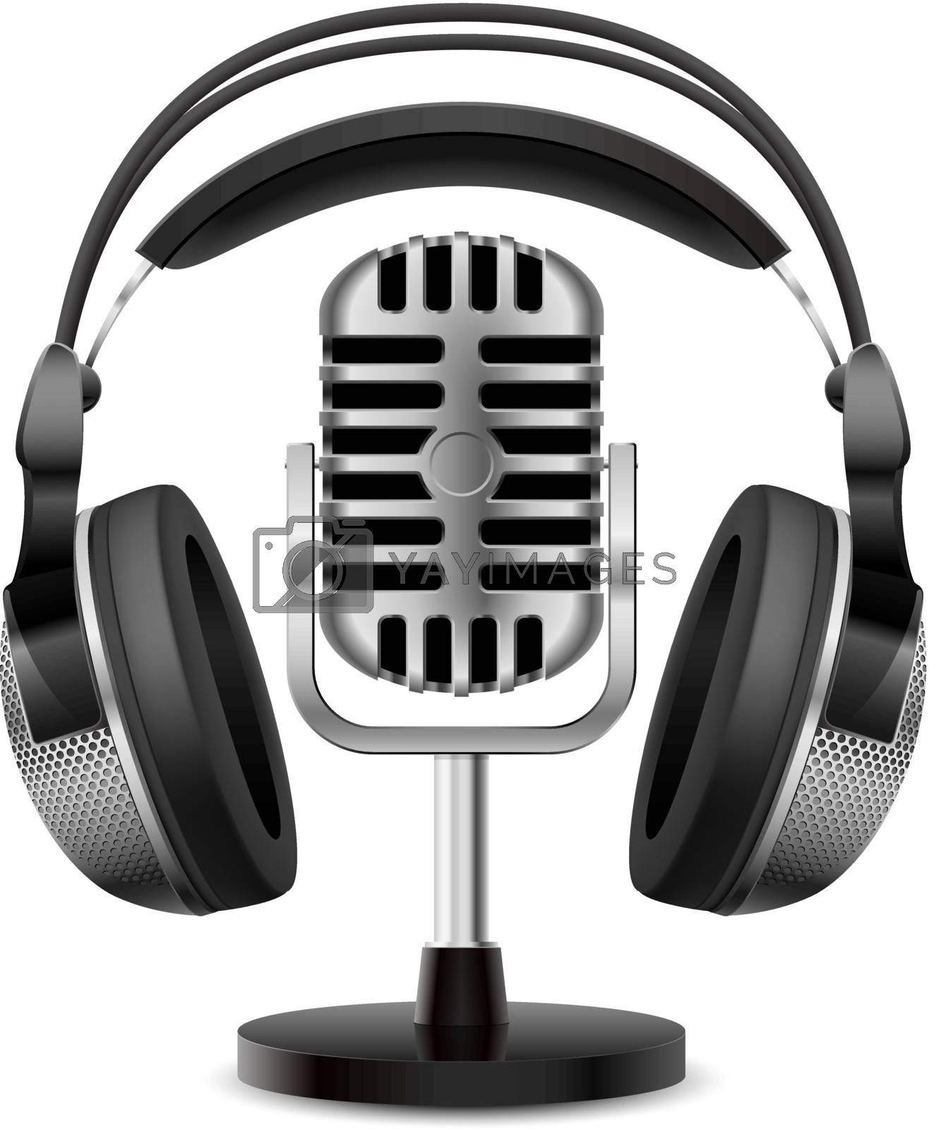 Realistic retro microphone and headphones. Illustration on white background for design