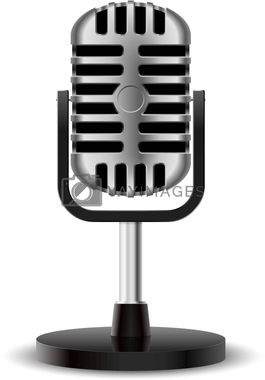 Realistic retro microphone. Illustration on white background for design