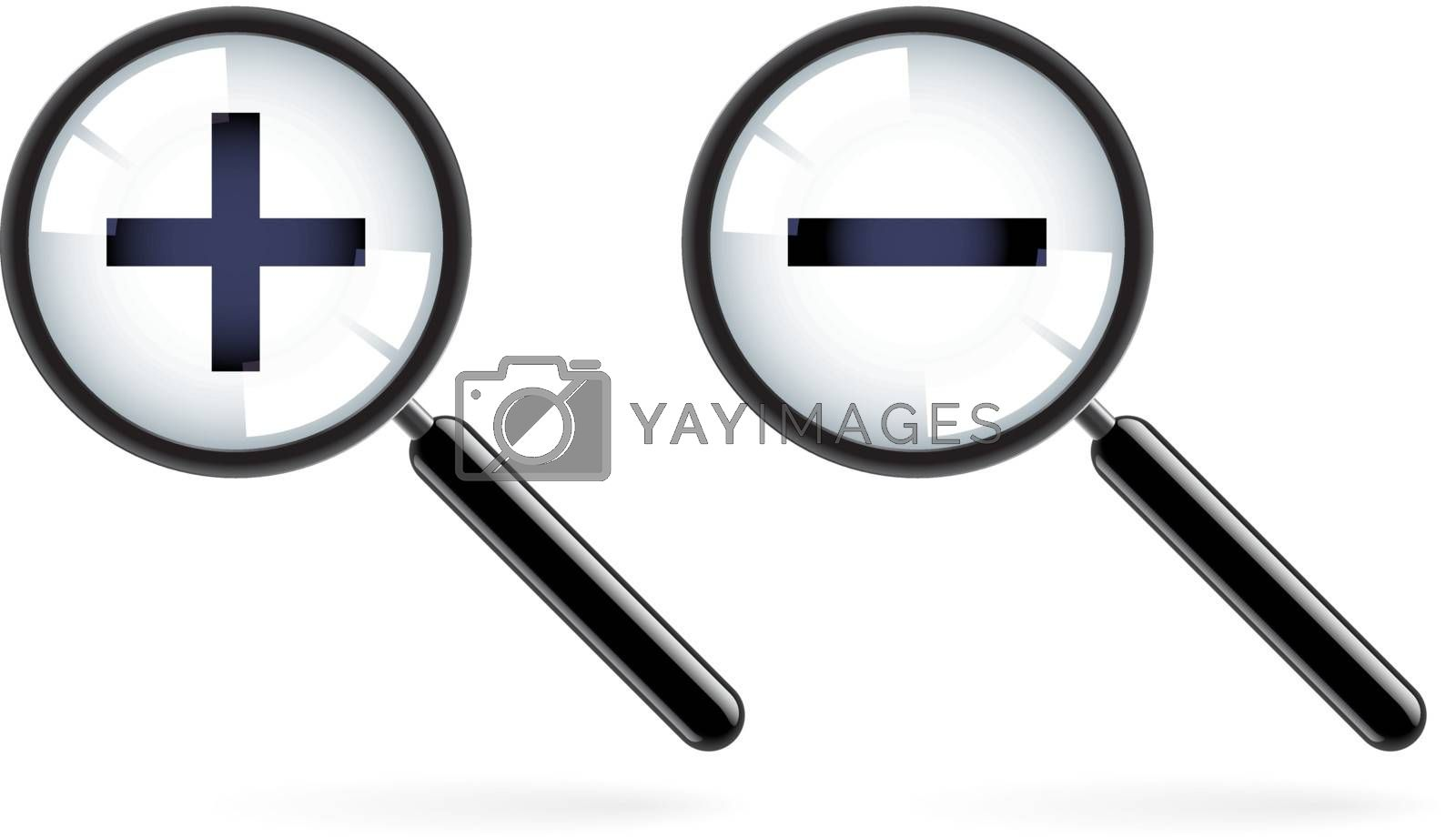 Monochromatic increase-decrease magnifiers icons. Illustration on white background for design