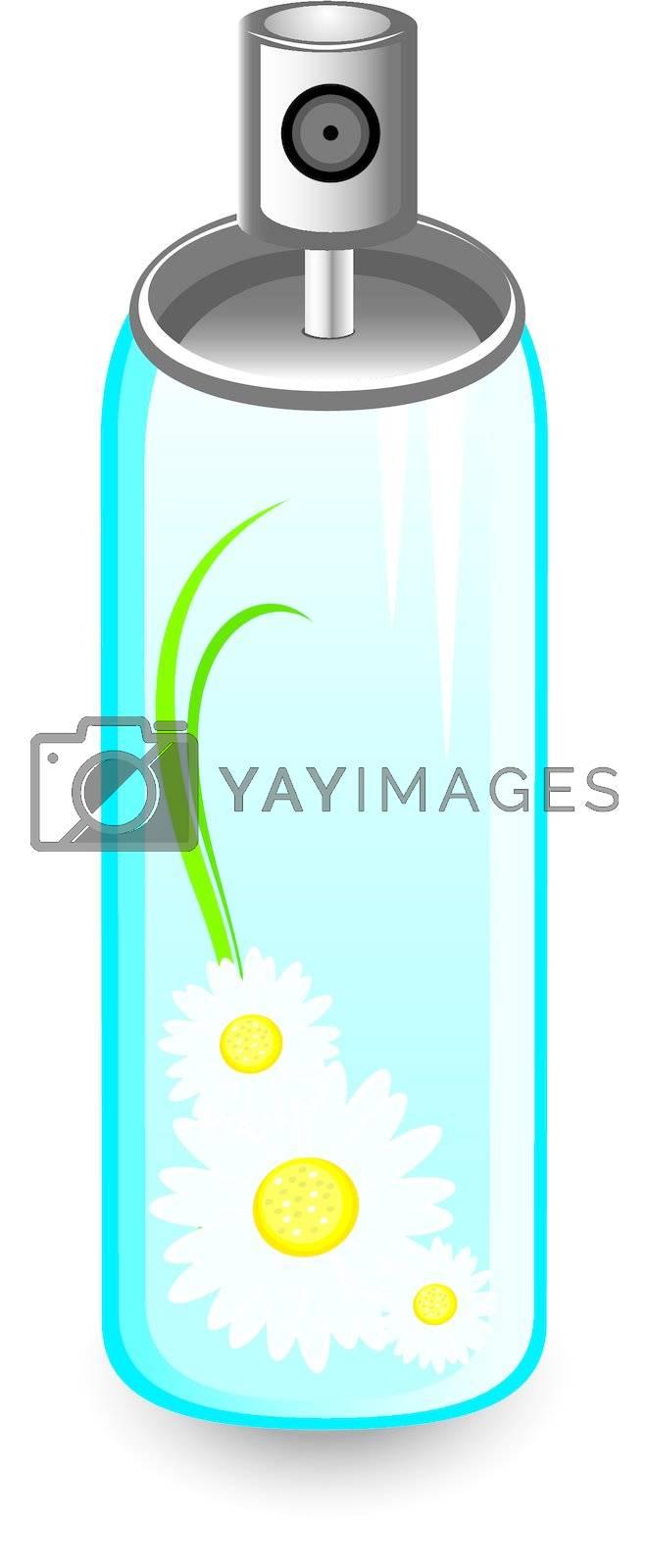 chamomile spray. Illustration on white background