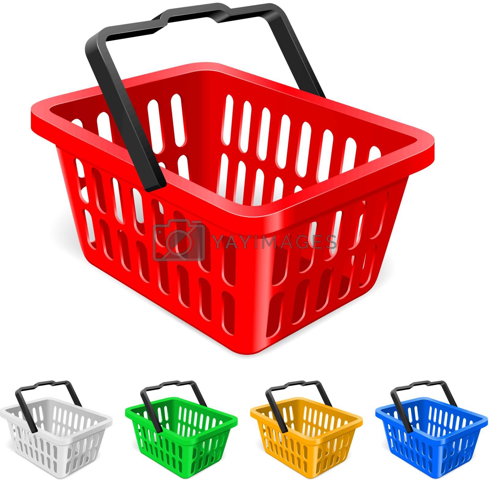 Colorful shopping basket. Illustration on white background