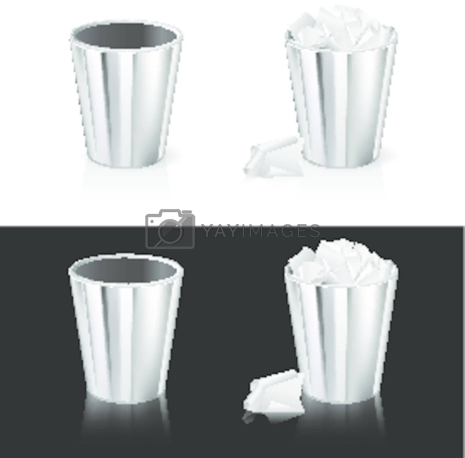 Set of Garbage can. Isolated on white and black background.
