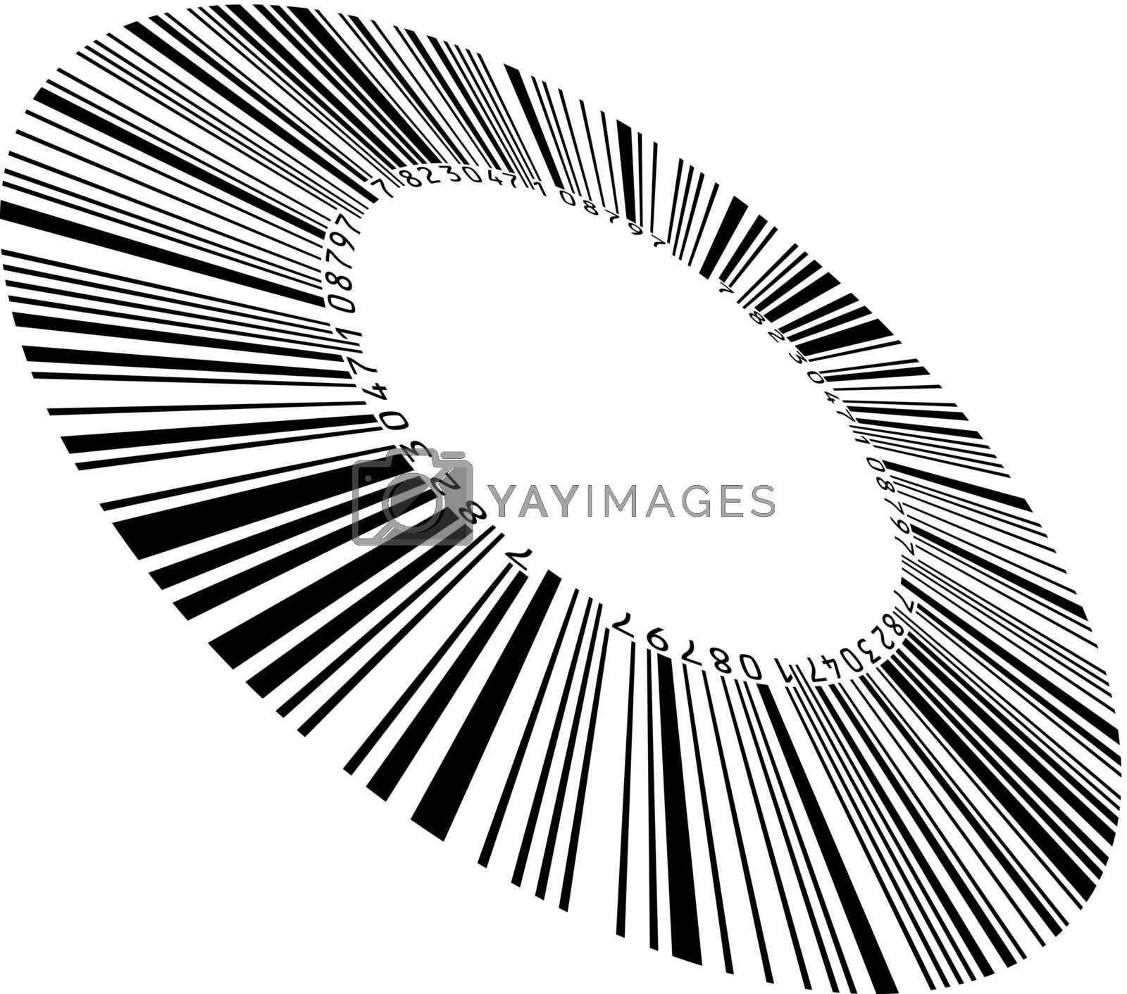 Abstract circular bar code. Illustration on white background for design