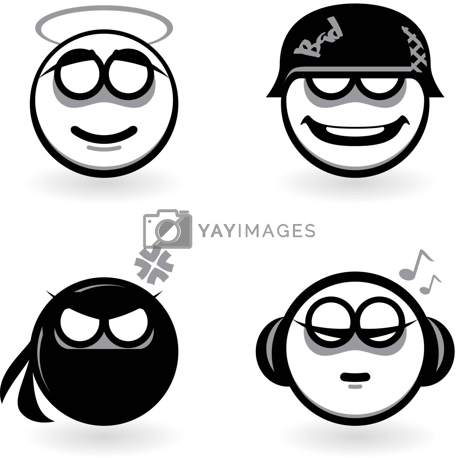 Four cartoon of abstract emotions. Part four. Illustration on white background