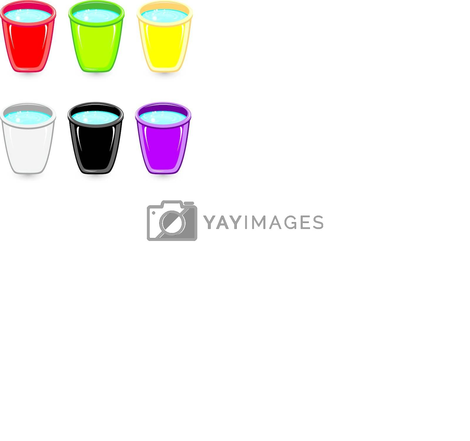 Set of colorful buckets of soapy water. Illustration on white background