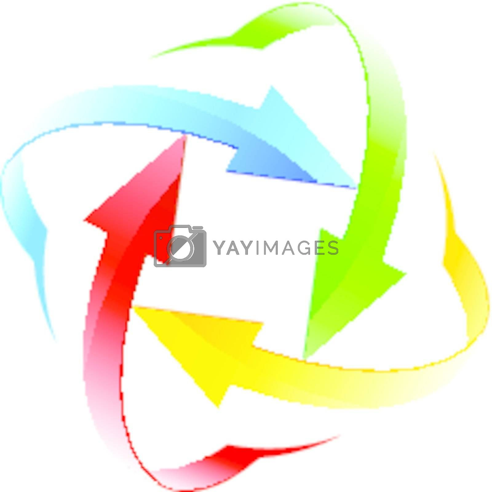 Set number ten of different colored arrow circles isolated on the white