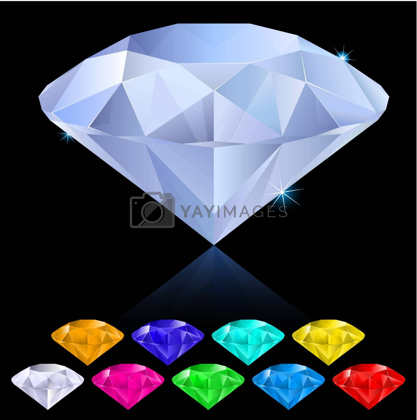 Realistic diamonds in different colors. Illustration for design on black background