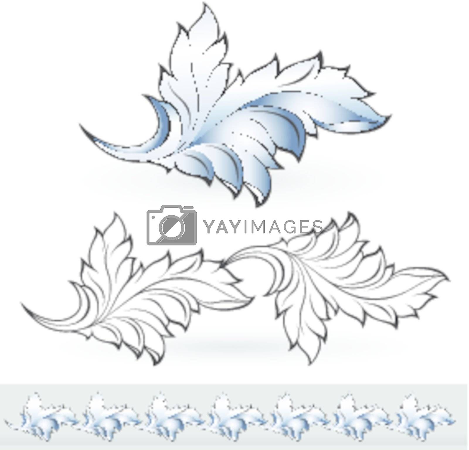 Abstract beautiful leaf. Illustration for design on white background
