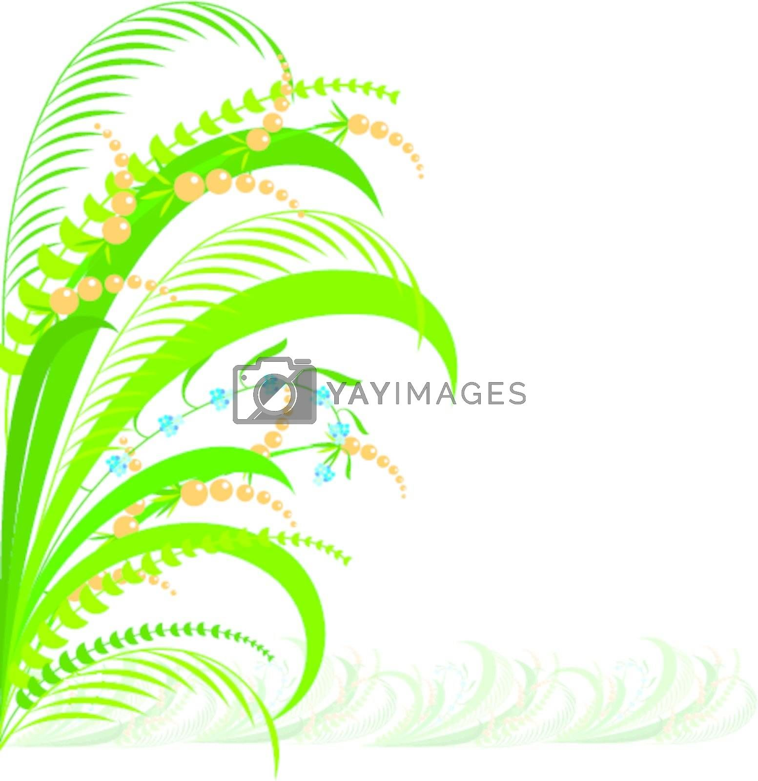 Abstract flowering herb.  Illustration on white background