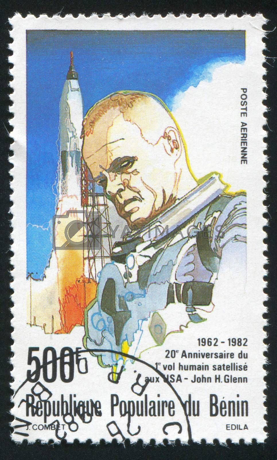 BENIN - CIRCA 1982: stamp printed by Benin, shows John Glenn, circa 1982.