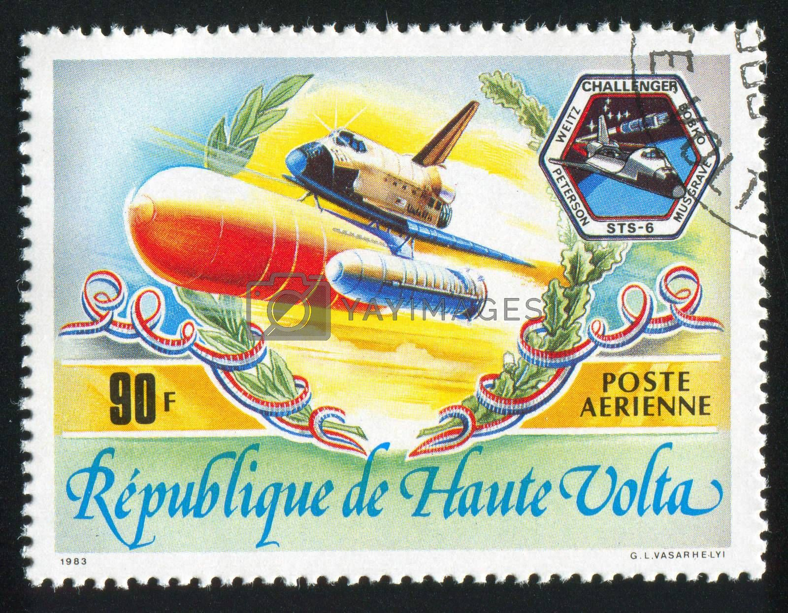 BURKINA FASO - CIRCA 1983: stamp printed by Burkina Faso, shows rocket, circa 1983.