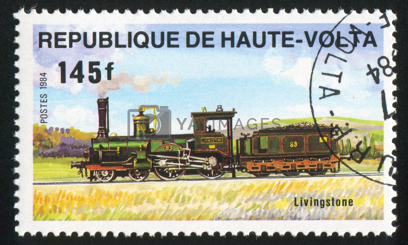 BURKINA FASO - CIRCA 1984: stamp printed by Burkina Faso, shows locomotive, circa 1984.