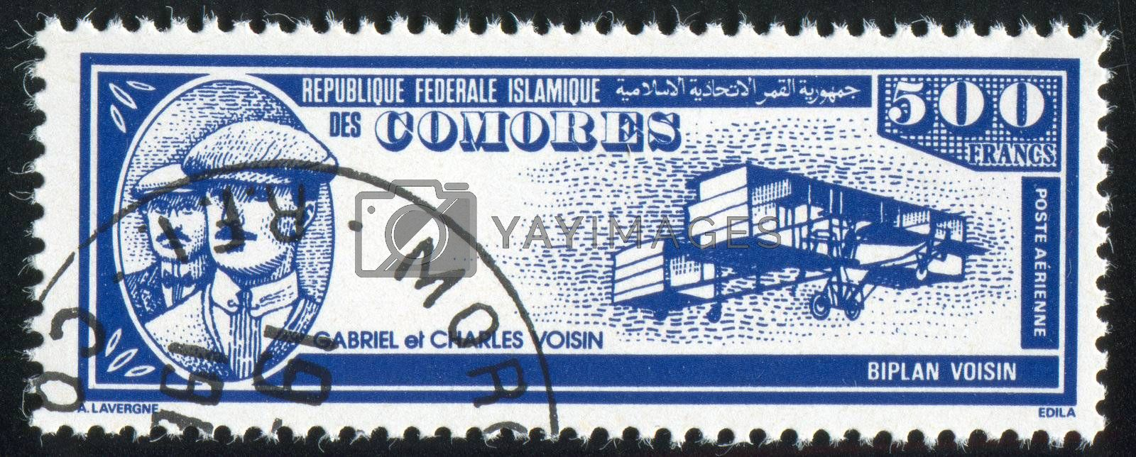 COMORO ISLANDS - CIRCA 1988: stamp printed by Comoro islands, shows airplane, Gabriel and Charles Voisin, circa 1988
