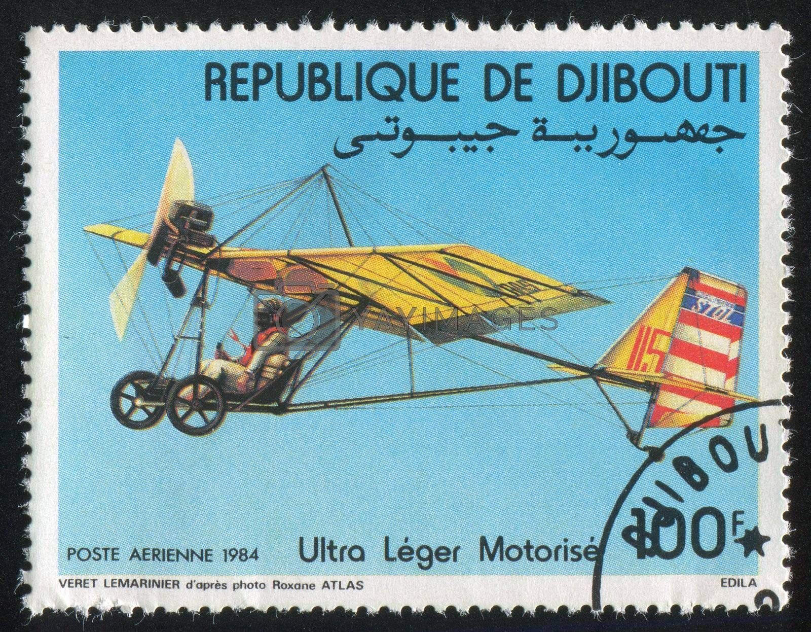 DJIBOUTI - CIRCA 1984: stamp printed by Djibouti, shows Motorized Hang Gliders, circa 1984