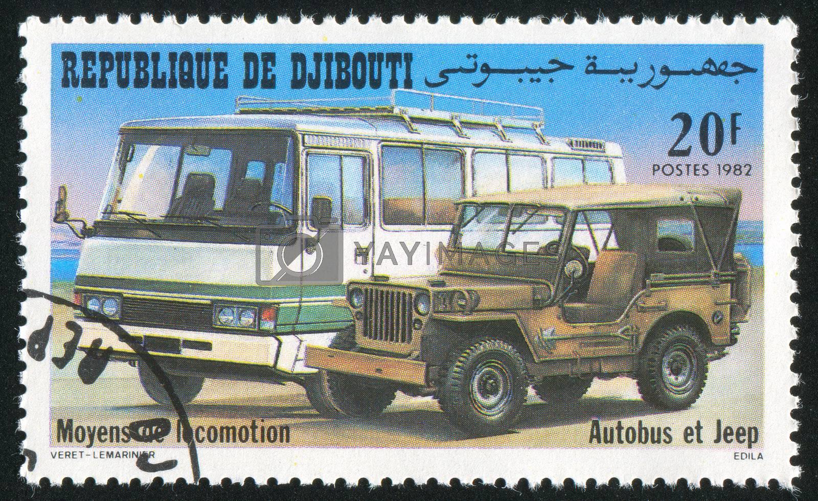 DJIBOUTI - CIRCA 1982: stamp printed by Djibouti, shows Bus and Jeep, circa 1982