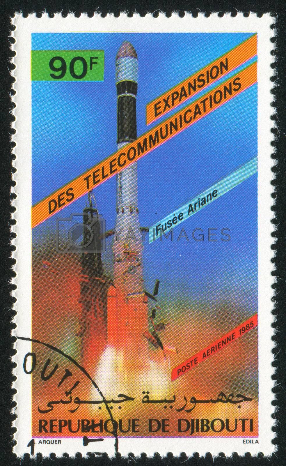 DJIBOUTI - CIRCA 1985: stamp printed by Djibouti, shows rocket, circa 1985