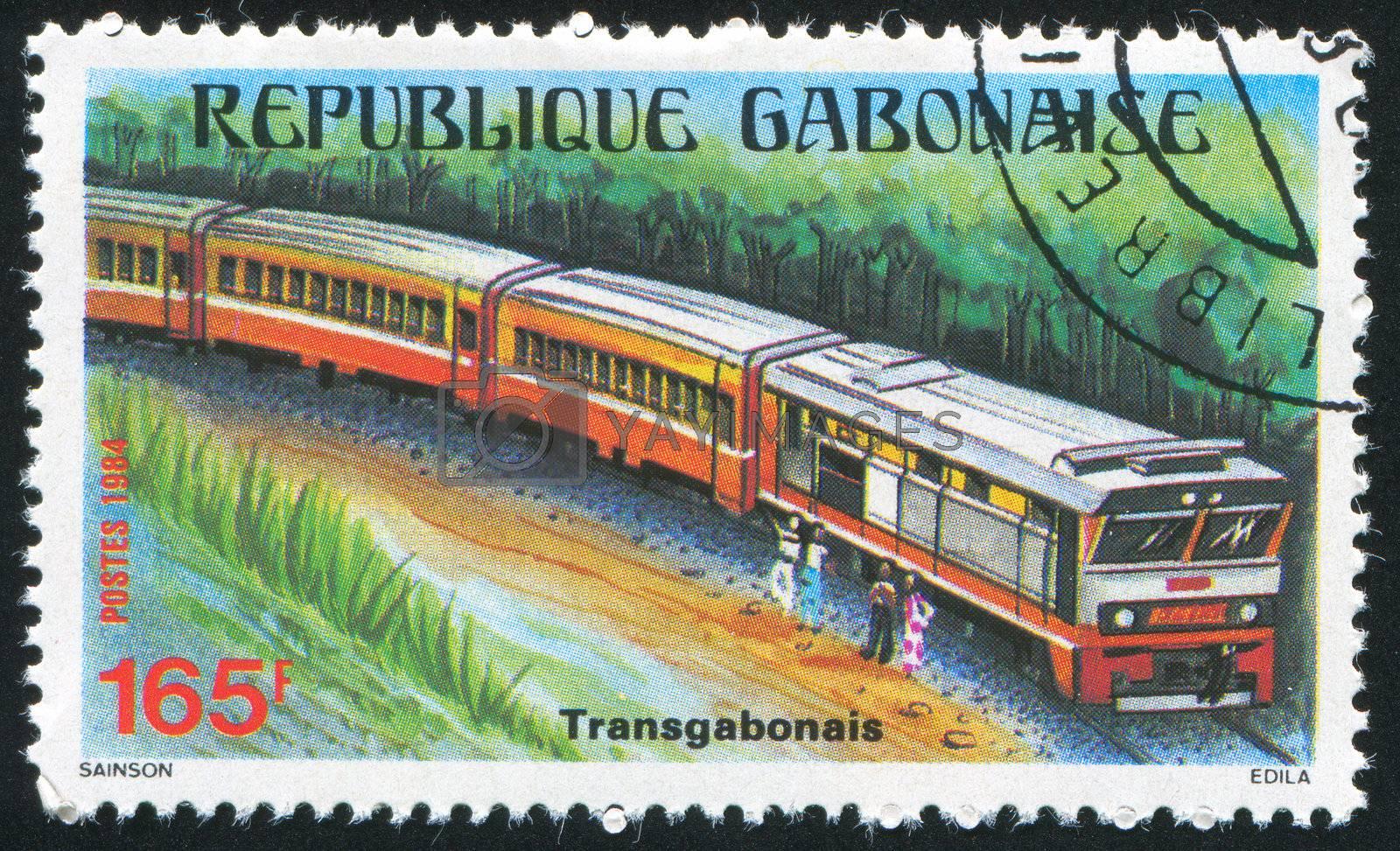 GABON - CIRCA 1984: stamp printed by Gabon, shows locomotive, circa 1984