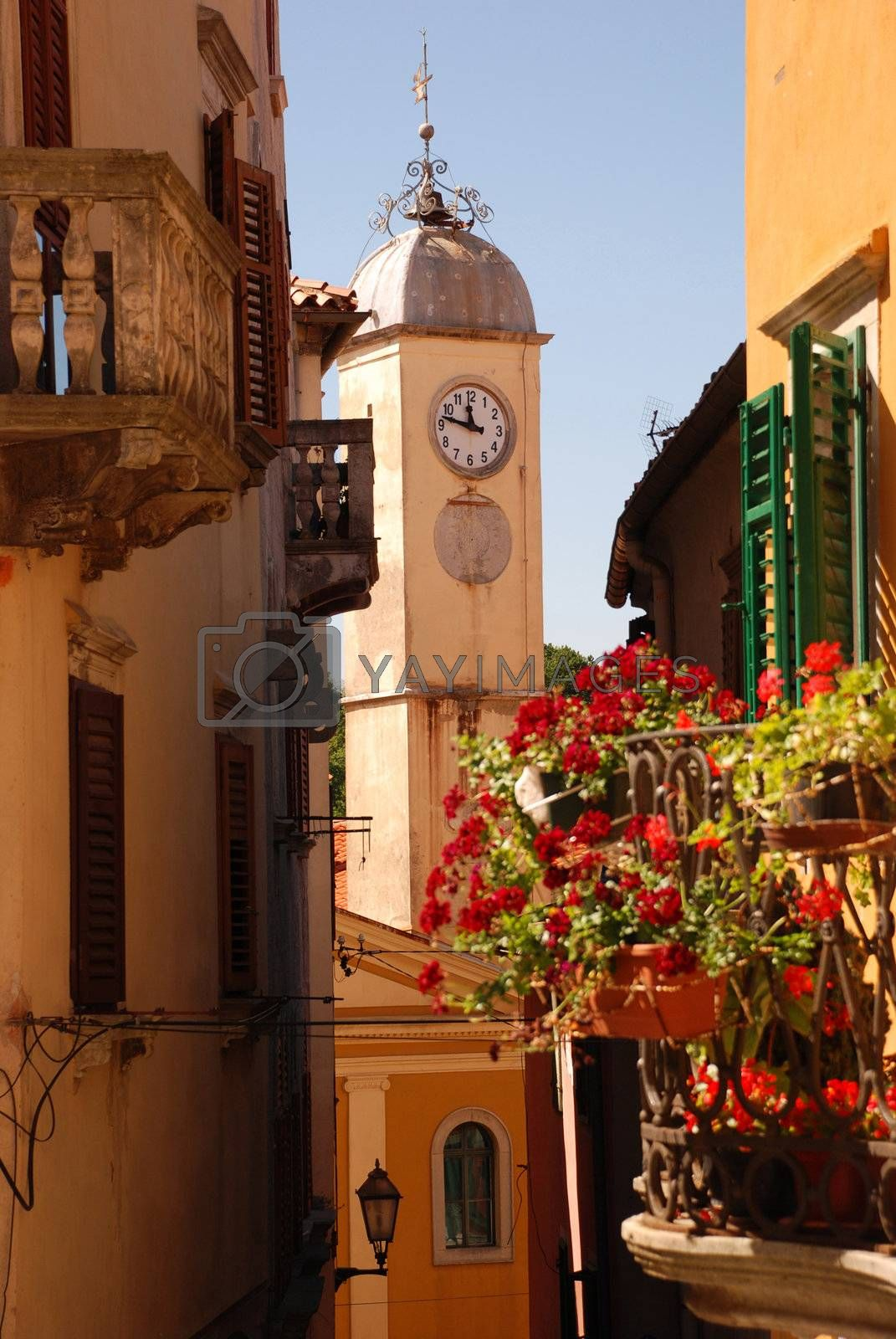 The bell tower in the center of Labin city, Croatia