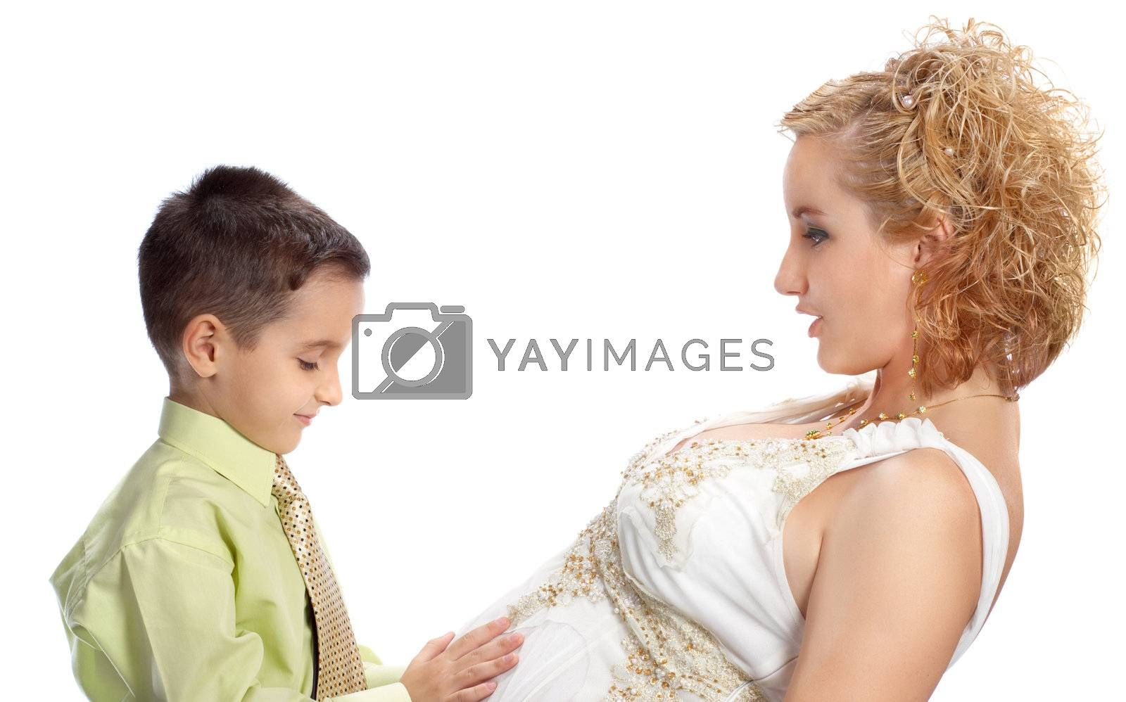mother and son happy together, isolated on white