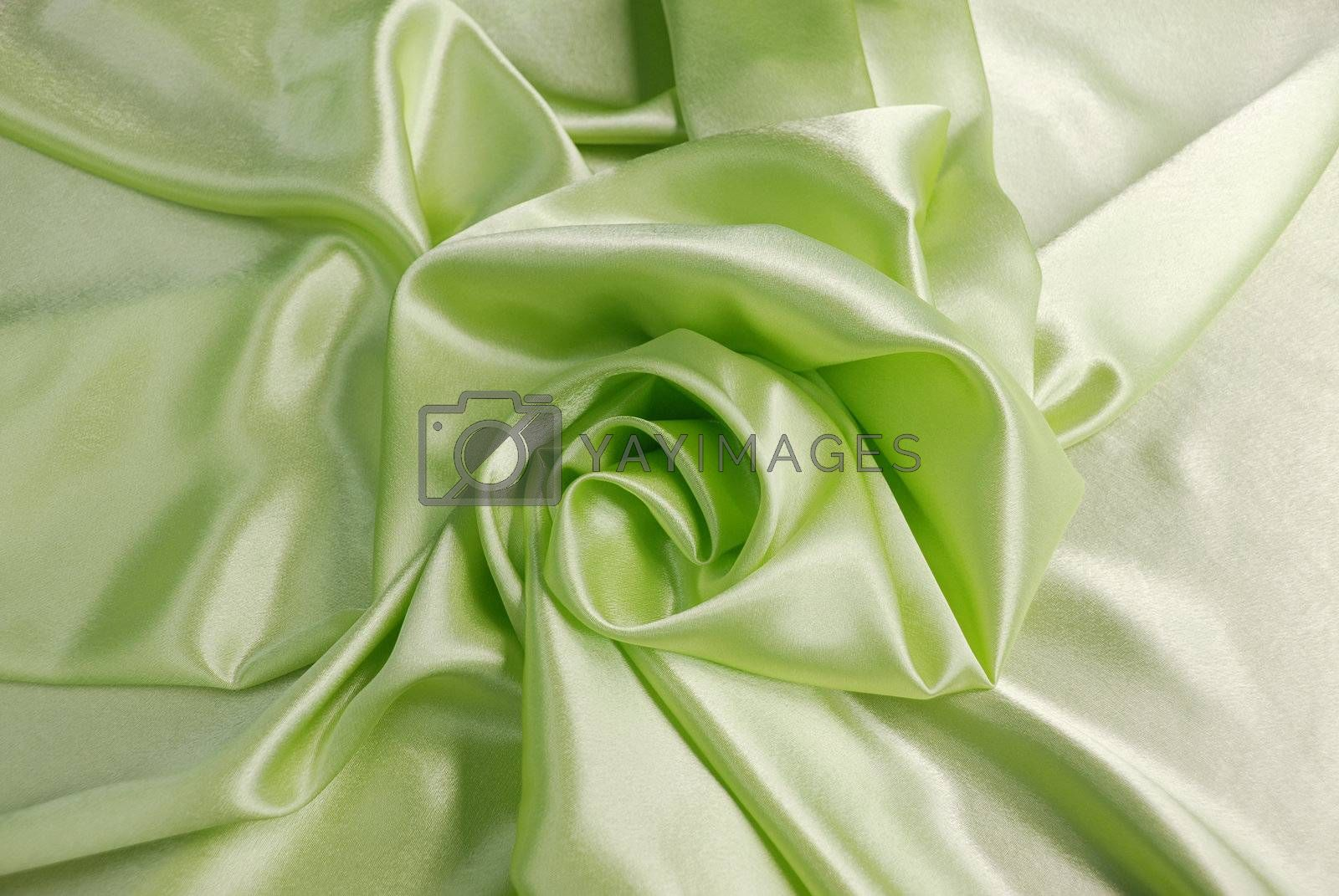 Green satin with a folds