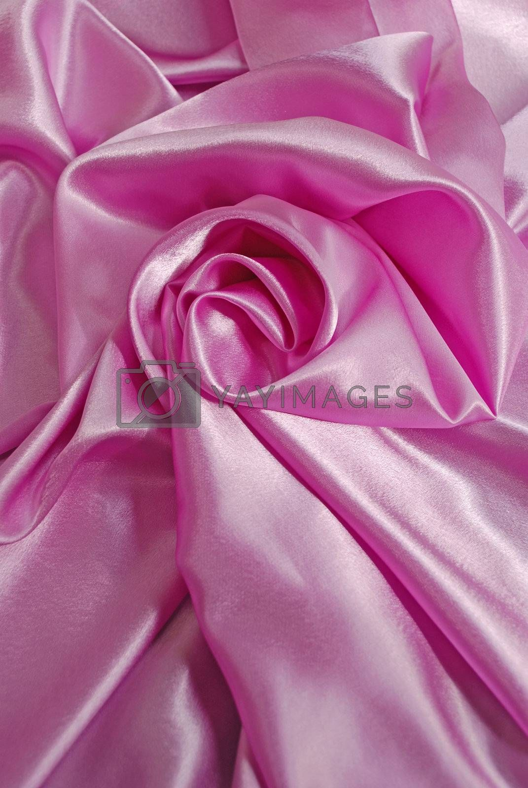 Pink satin with folds