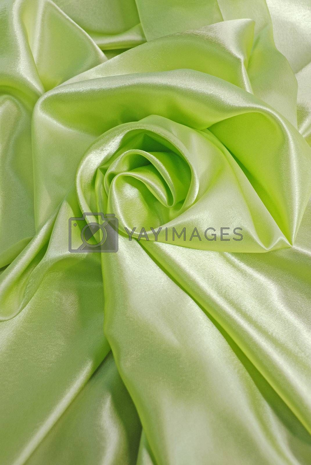 Green satin with folds
