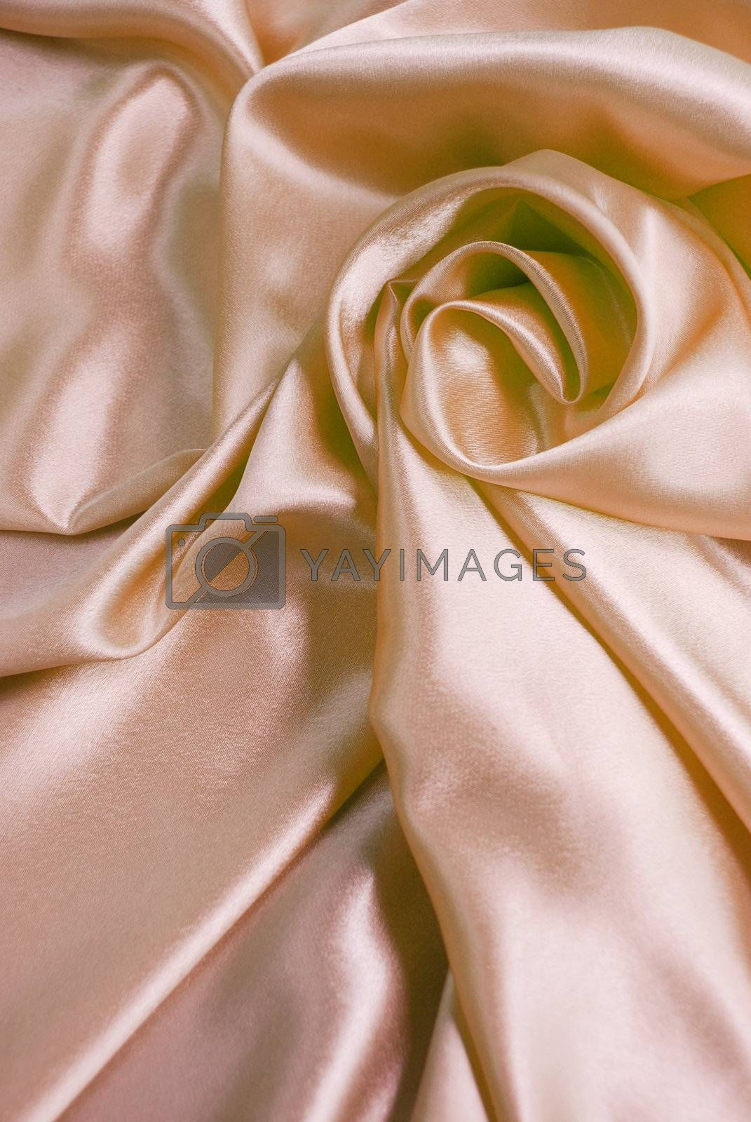 Beige satin with a folds