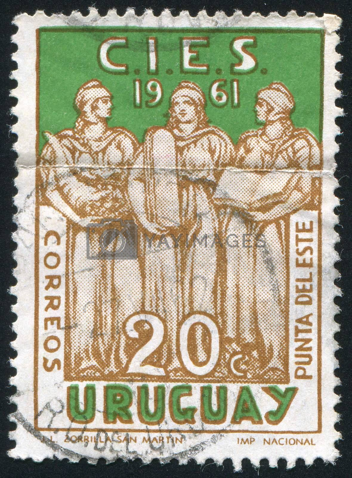 URUGUAY - CIRCA 1961: stamp printed by Uruguay, shows Sculpture Welfare, Justice and Education, circa 1961