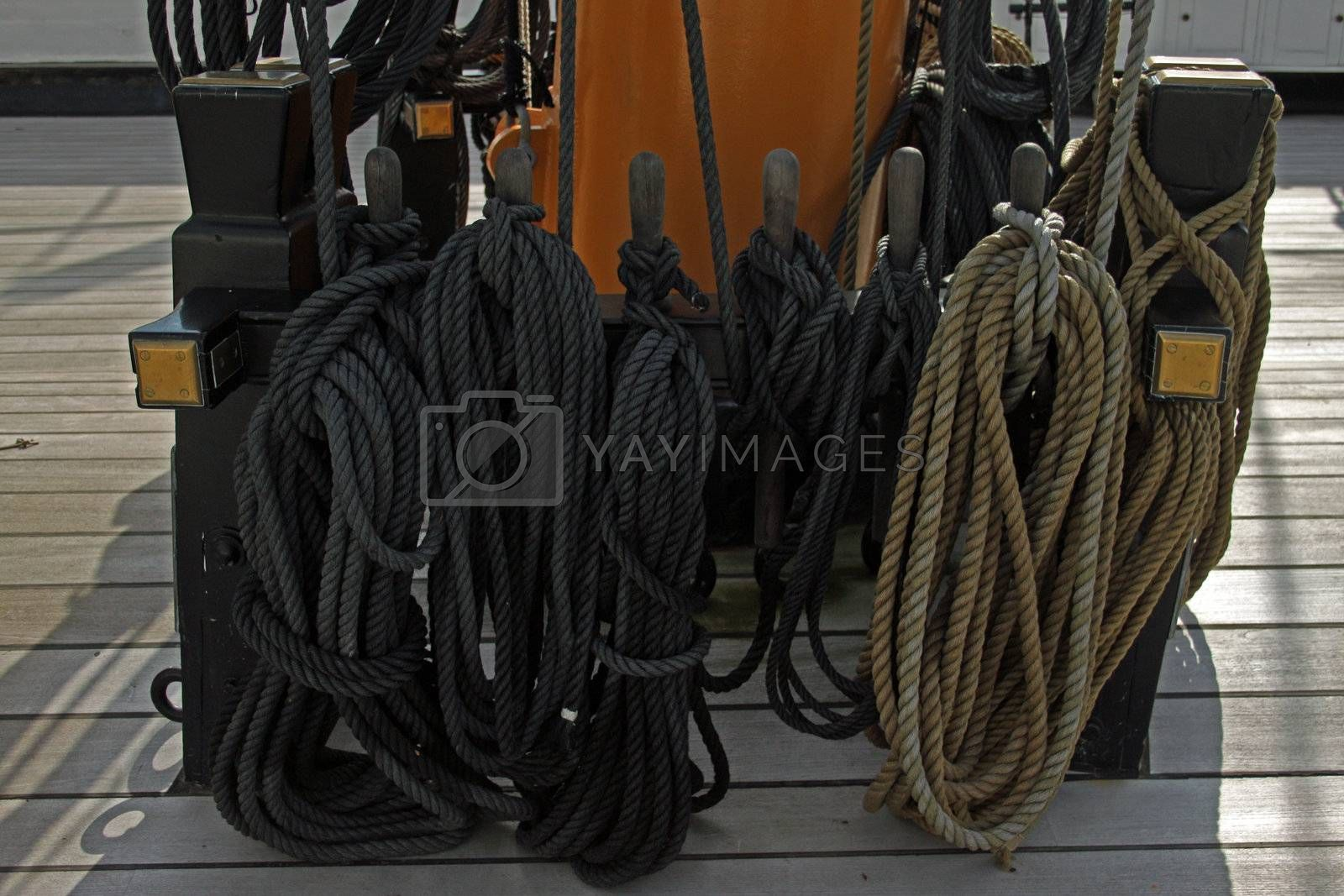Rigging rope from the deck of the HMS Warrior