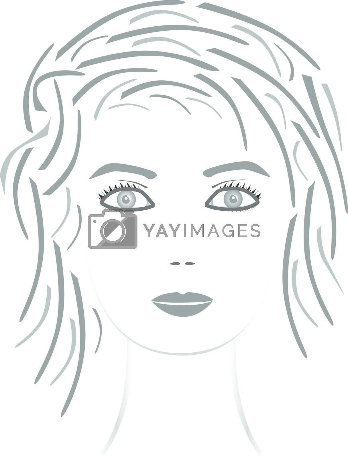Beautiful face girl. Vector illustration