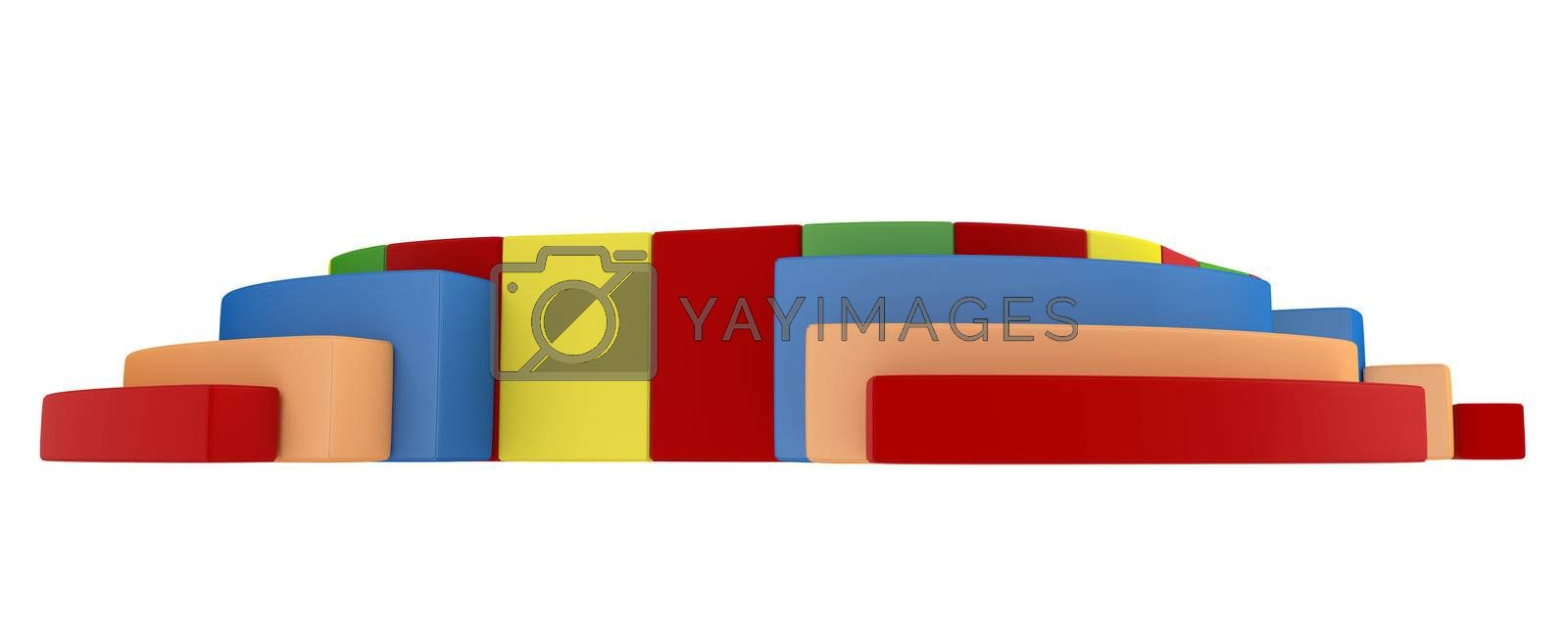 Colorful children`s playground isolated on white background