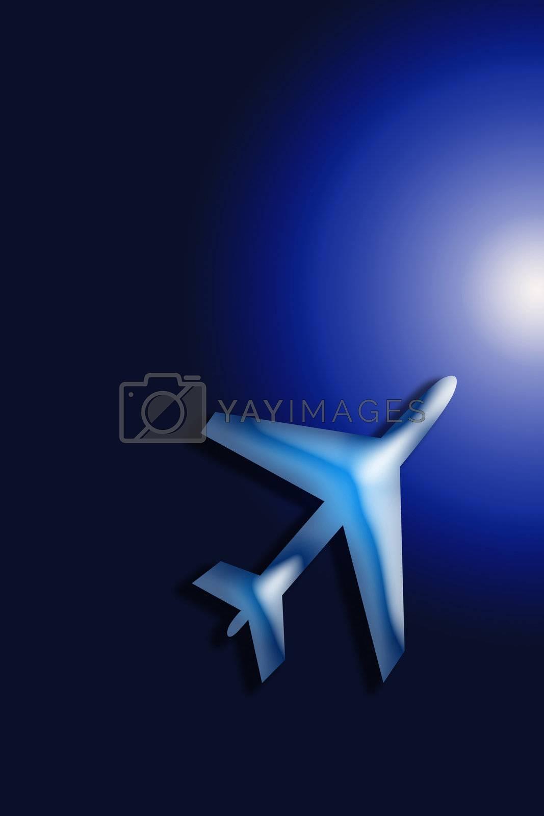 Passenger airplane in the blue sky landing away