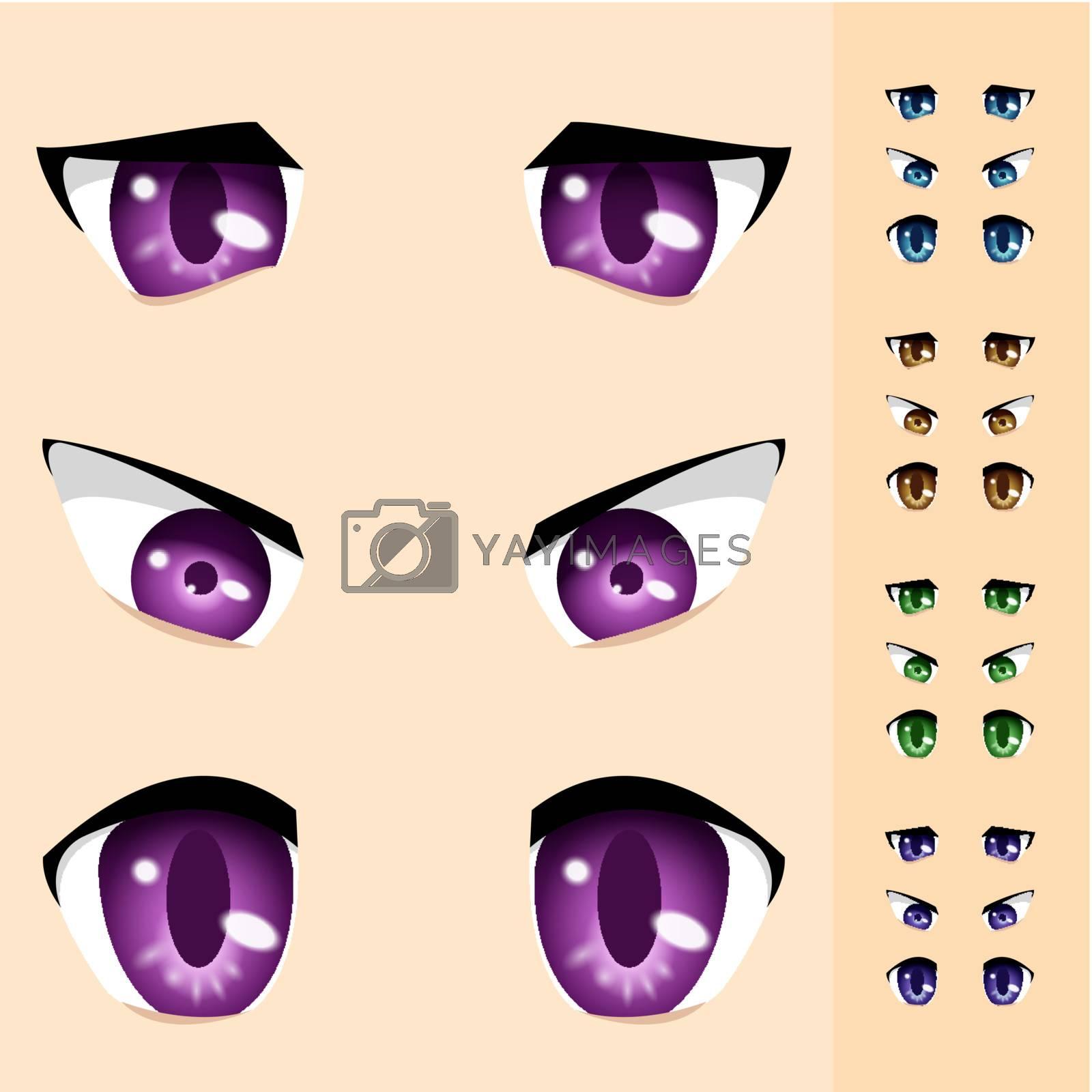 Set of animals Eyes. Illustration for design