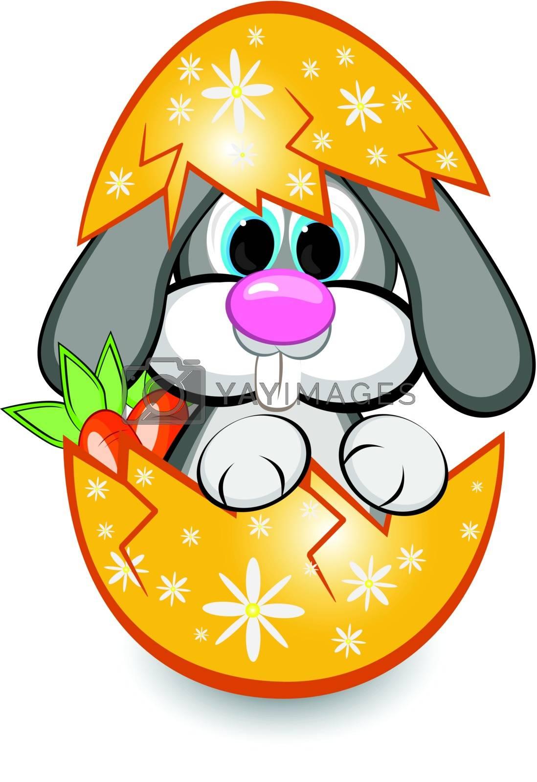Rabbit in the egg. Illustration on white background