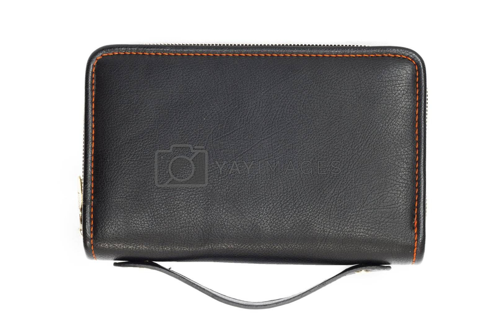 Black business briefcase isolated on white background. With clipping path. Front view.