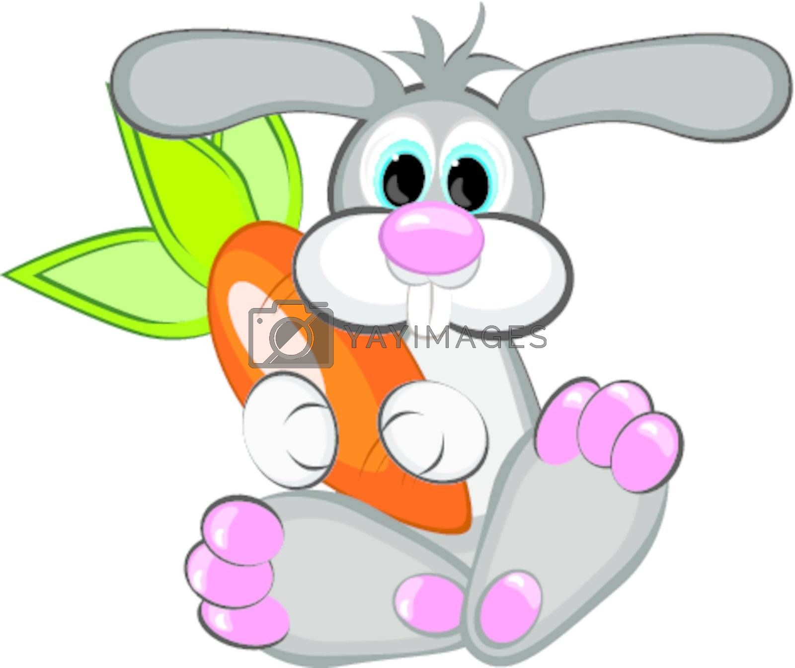 Year of the Rabbit - A happy rabbit with a giant carrot.