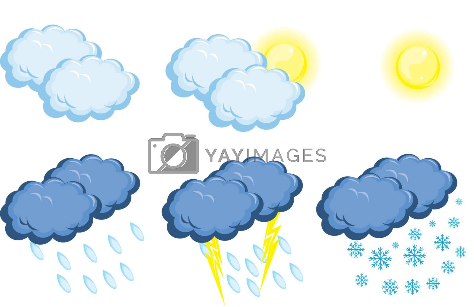 Weather Icons. Vector illustration on white background for design