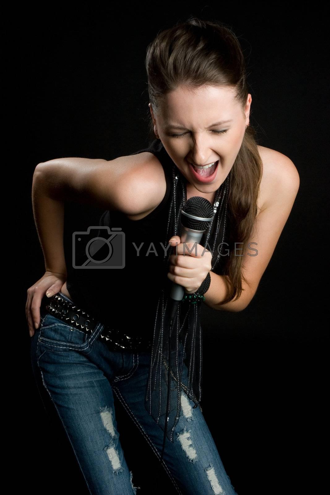 Beautiful woman singing microphone karaoke