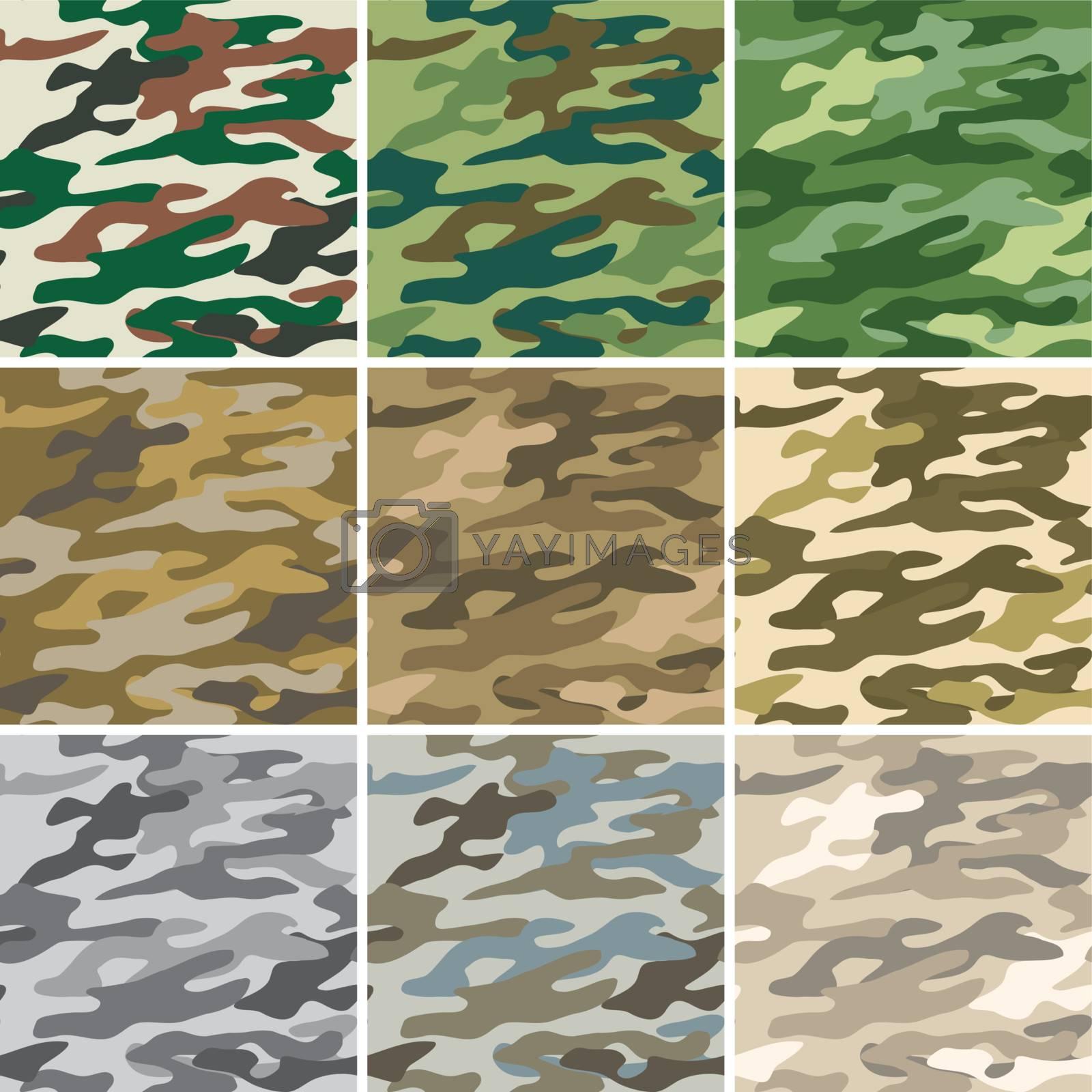 Illustration of digital camouflage seamless patterns.