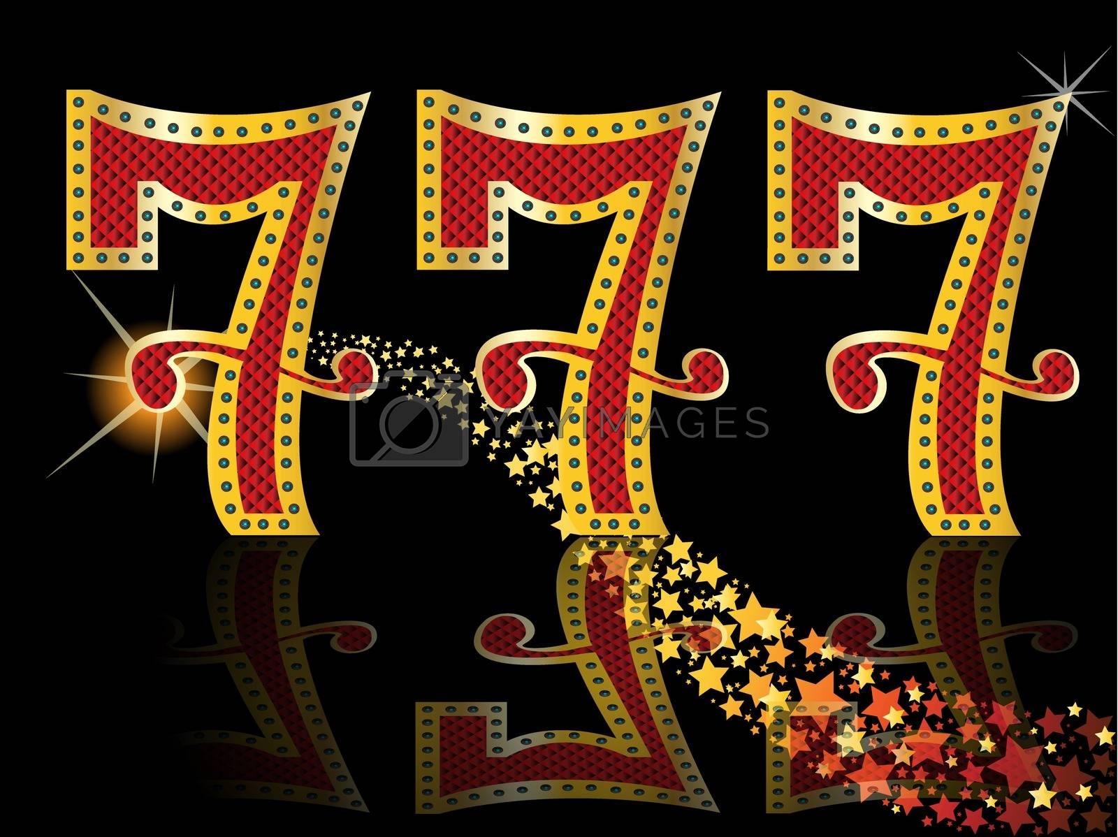777 Casino Slot Design Lucky Seven Slot Machine Font Royalty Free