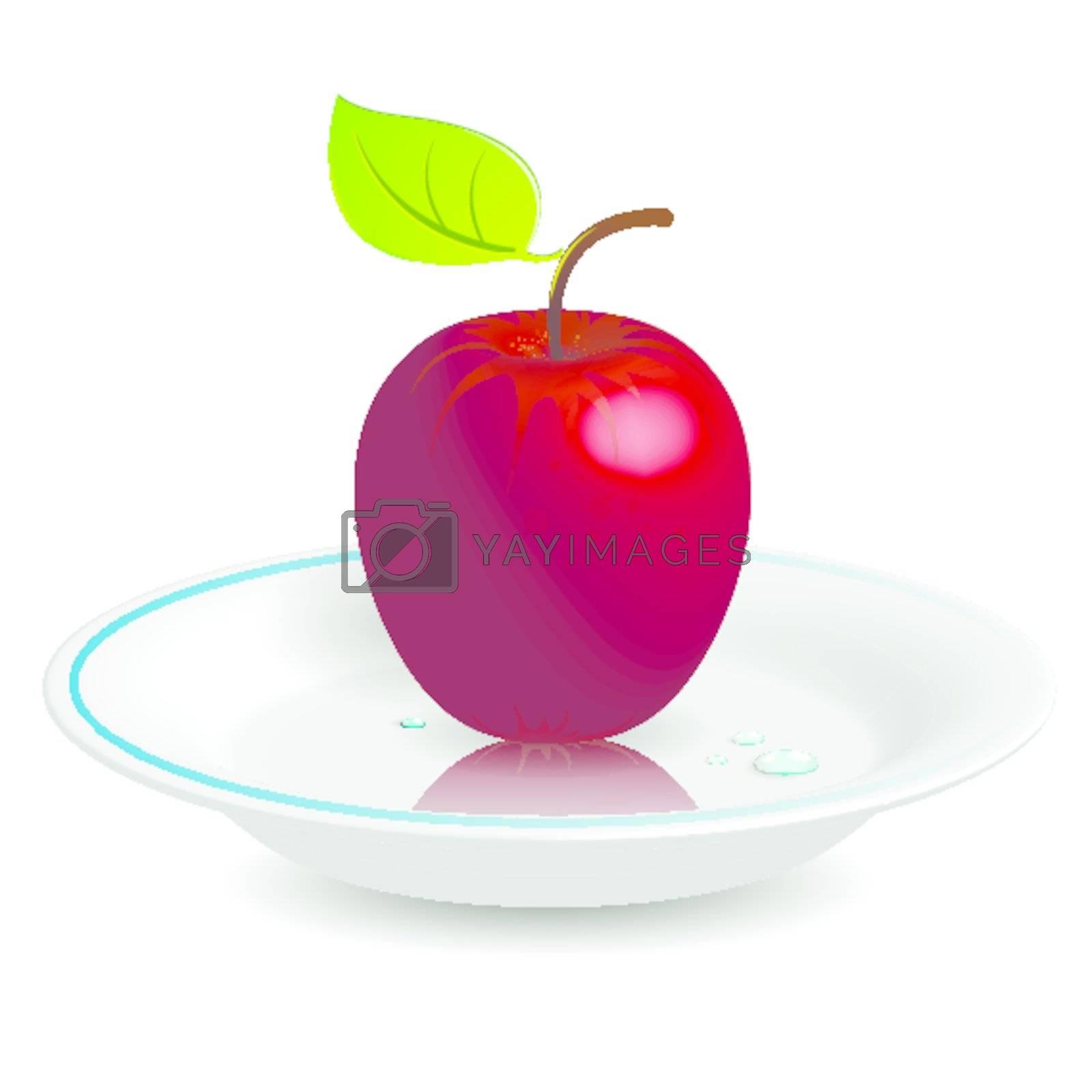 Apple on saucer