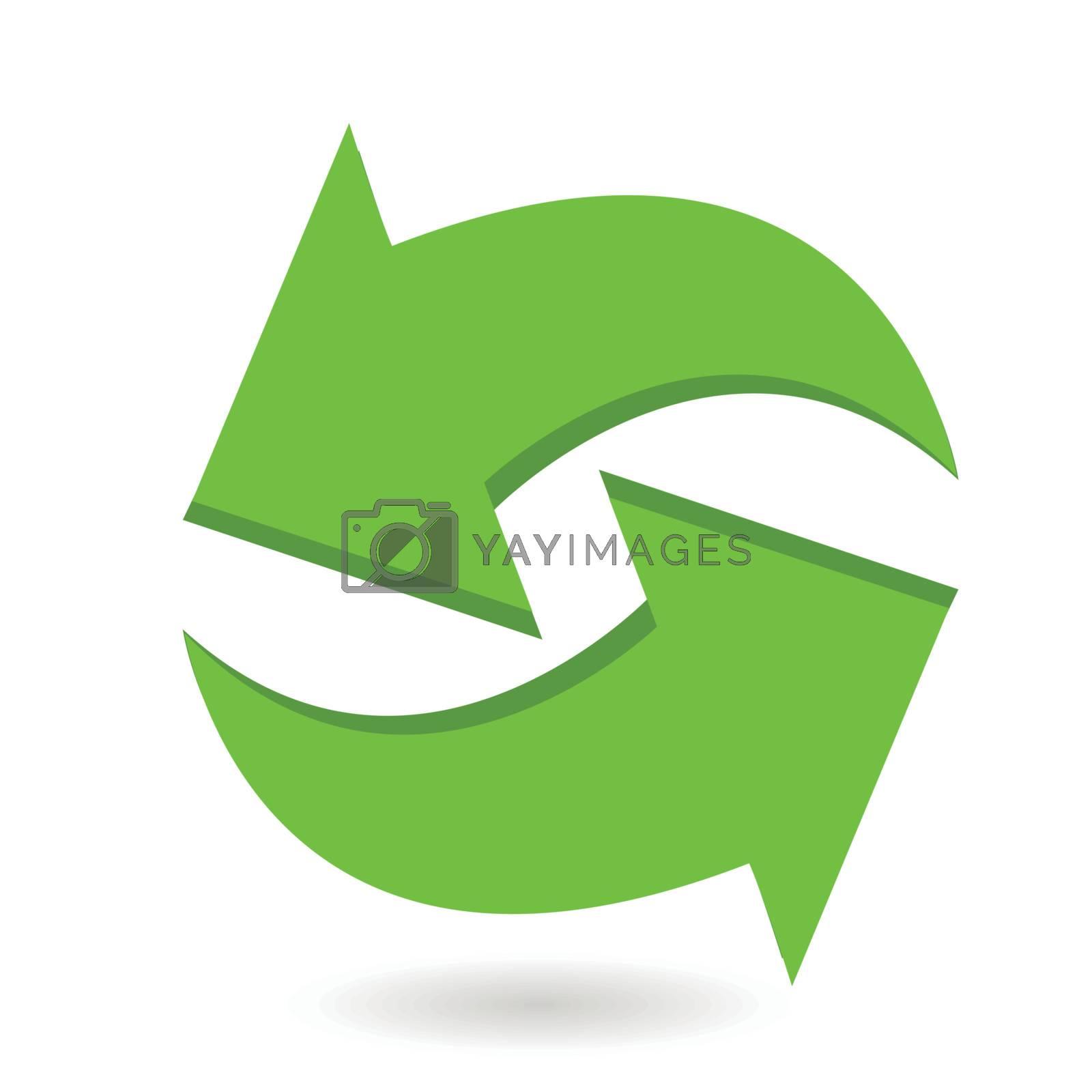 Illustration, symbolic circular green arrows on white background