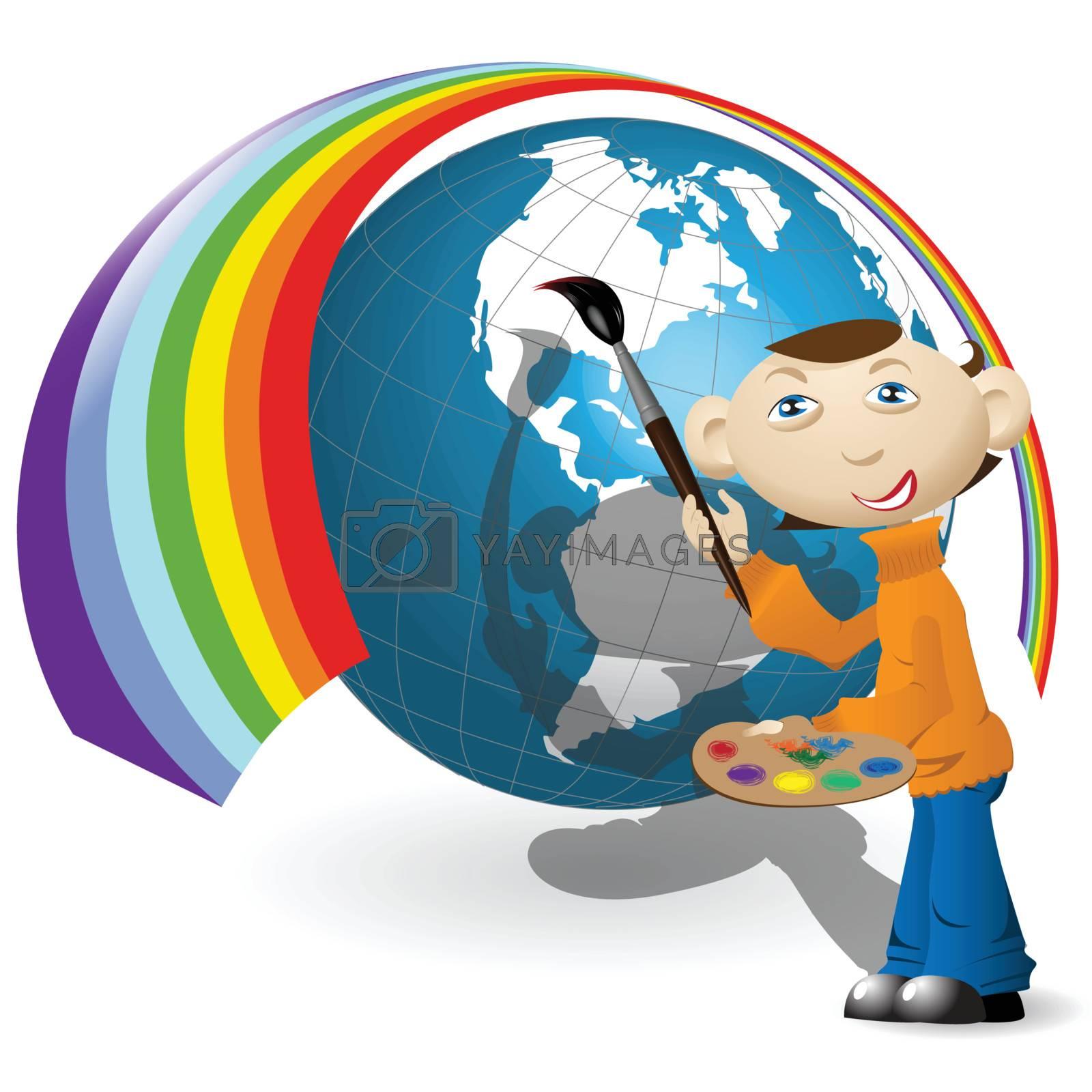 Vector drawing artist paints rainbow on globe